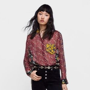 NWT Zara Size M Patchwork Floral Sheer Shirt